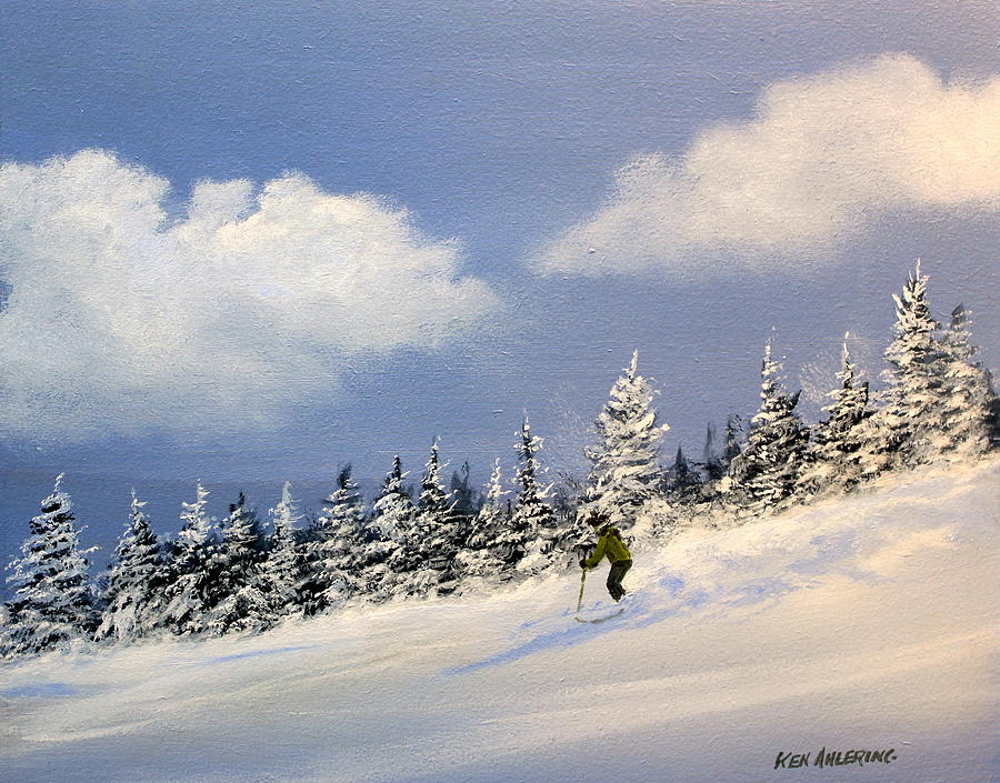 Ski Painting - Bookin by Ken Ahlering