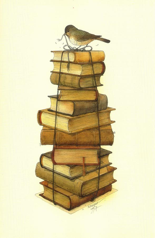 Books And Little Bird Painting