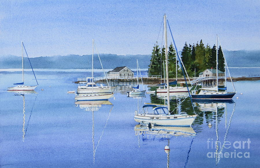 Summer Painting - Boothbay Harbor Reflections by Karol Wyckoff