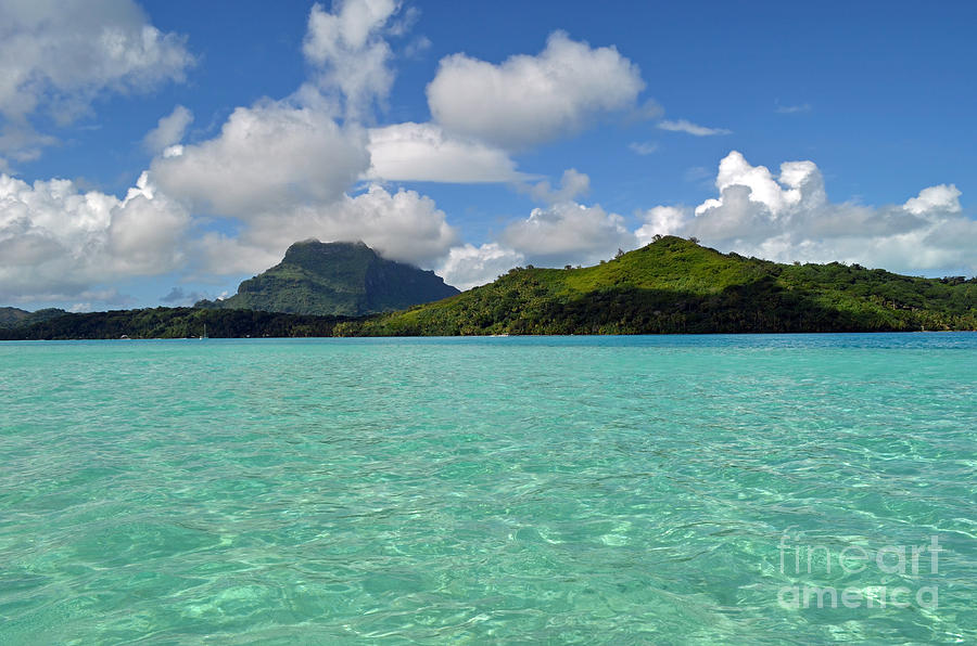 Bora Bora Green Water Digital Art  - Bora Bora Green Water Fine Art Print