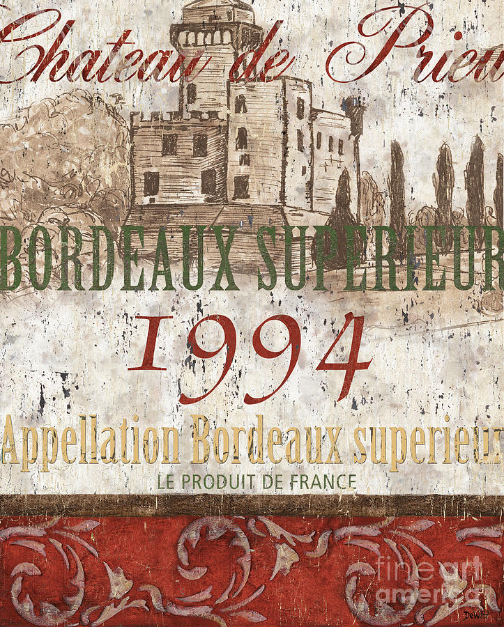 Bordeaux Blanc Label 2 Painting  - Bordeaux Blanc Label 2 Fine Art Print