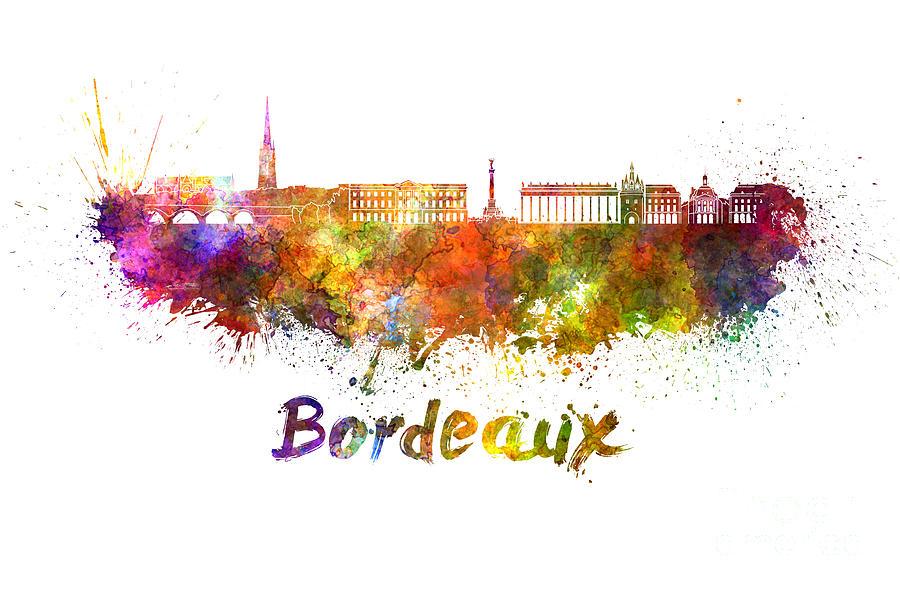 Bordeaux Skyline In Watercolor Painting