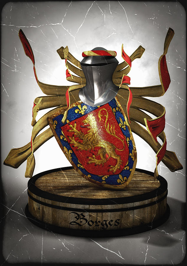Borges Family Coat Of Arms Digital Art  - Borges Family Coat Of Arms Fine Art Print