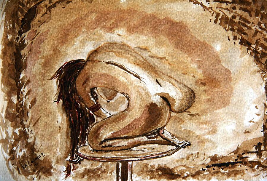 Nude Framed Prints Painting - Born. by Shlomo Zangilevitch