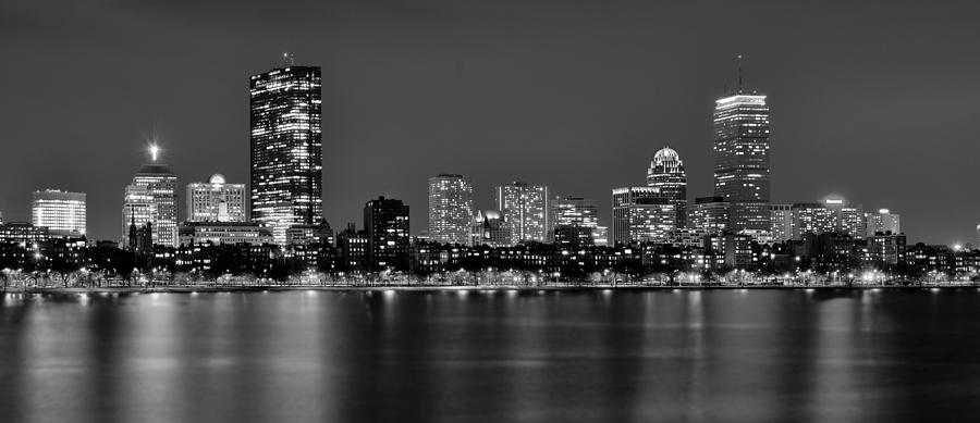 Boston Back Bay Skyline At Night Black And White Bw Panorama Photograph  - Boston Back Bay Skyline At Night Black And White Bw Panorama Fine Art Print