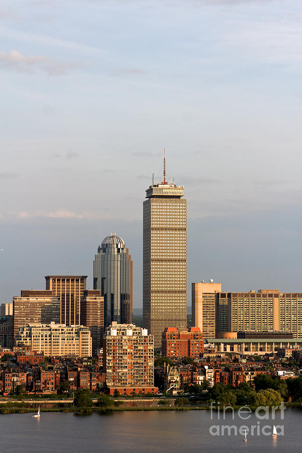 Boston Back Bay With The Prudential Tower Pyrography  - Boston Back Bay With The Prudential Tower Fine Art Print