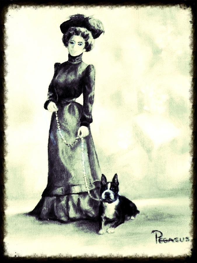 Dog Painting - Boston Beauties 3 - Vintage Collection by Beverly Pegasus