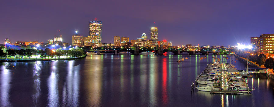 Boston Harbor Nights-panorama Photograph