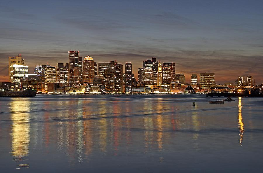 Boston Harbor Skyline Reflection Photograph  - Boston Harbor Skyline Reflection Fine Art Print