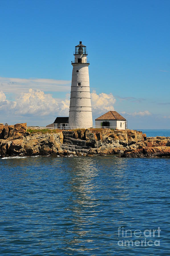 Boston Beantown City Light Lighthouse New England Massachusetts Navagator Signal Beacon Ocean Bay Harbor Water Sea Rocks Brewster Island Vessels Keeper  Photograph - Boston Light by Catherine Reusch  Daley