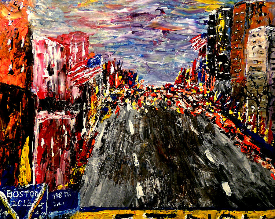 Boston Marathon  Painting  - Boston Marathon  Fine Art Print