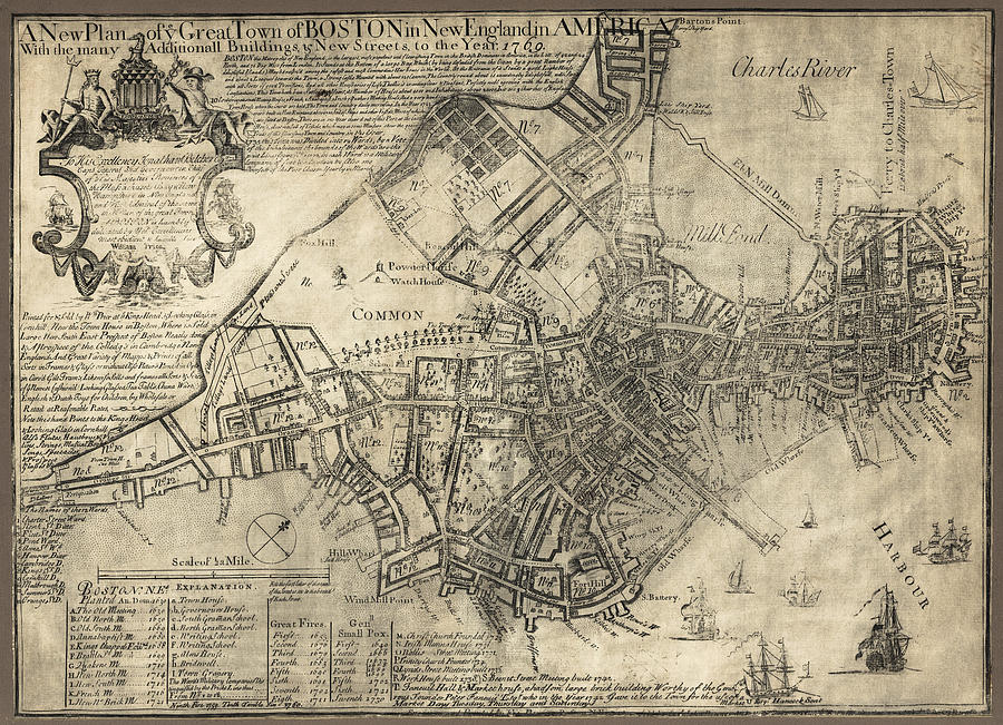 Boston Of British Dominion Map  1769 Photograph