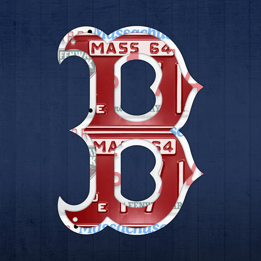 boston red sox logo letter b baseball team vintage license