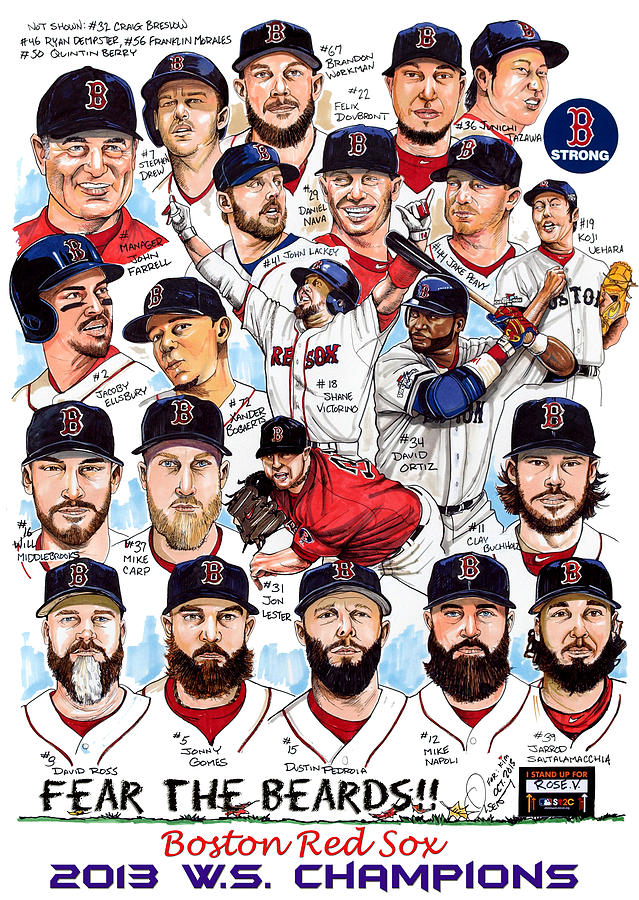 Boston Red Sox Ws Champions Drawing  - Boston Red Sox Ws Champions Fine Art Print