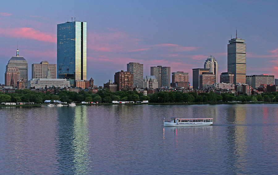 Boston Skyline And Sightseeing Boat Photograph