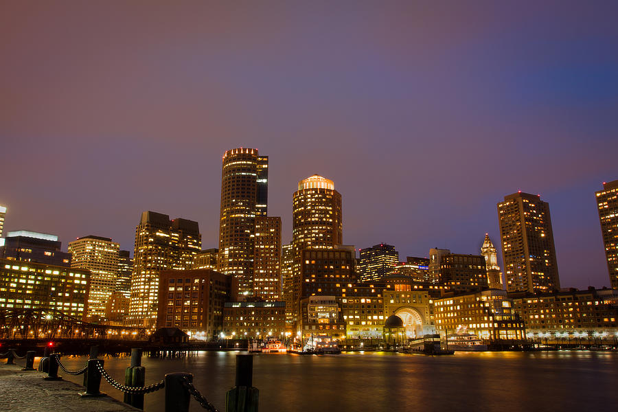 Boston Skyline Blue Hour Pyrography  - Boston Skyline Blue Hour Fine Art Print
