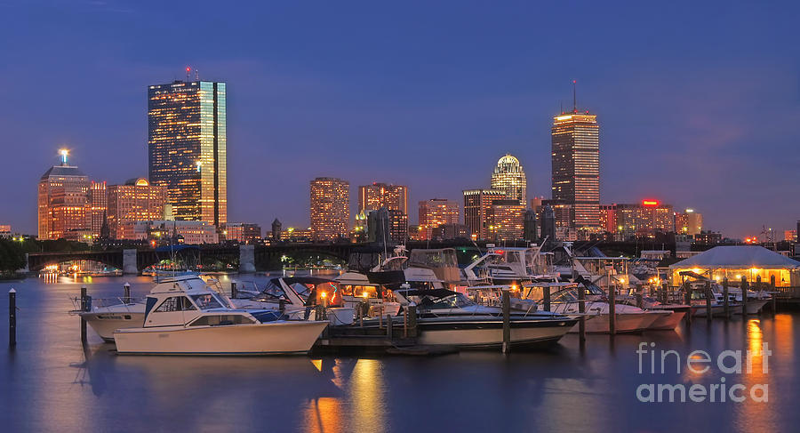 Boston Photograph - Boston Skyline In Blue And Gold by Joann Vitali