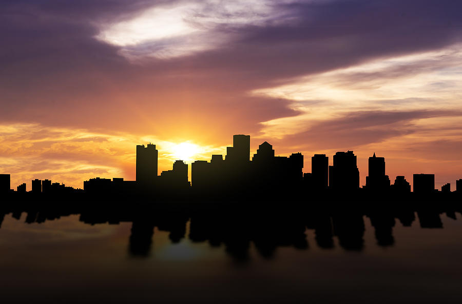 Boston Skyline Photograph - Boston Sunset Skyline  by Aged Pixel