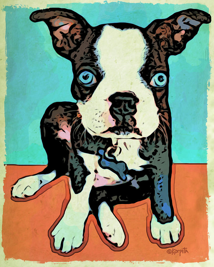 Boston Terrier - Blue Digital Art