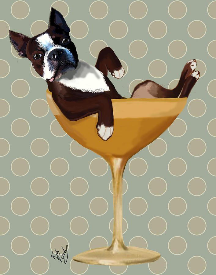 Dog Framed Prints Digital Art - Boston Terrier Cocktail Glass by Kelly McLaughlan