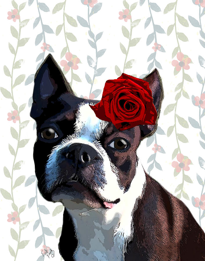 Boston Terrier With A Rose On Head Digital Art