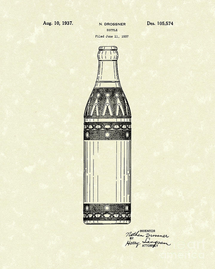 Bottle 1937 Patent Art Drawing  - Bottle 1937 Patent Art Fine Art Print