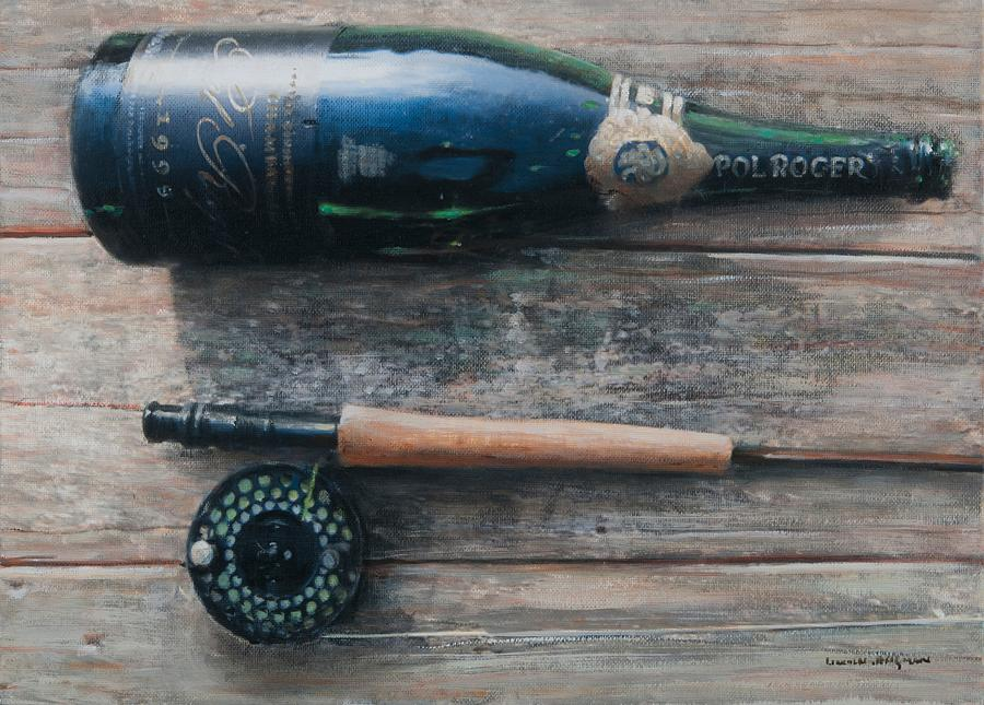 Bottle; Bottles; Champagne; Champagne Bottle; Rod; Fishing; Fishing Rod; Celebration; Planks Painting - Bottle And Rod I by Lincoln Seligman