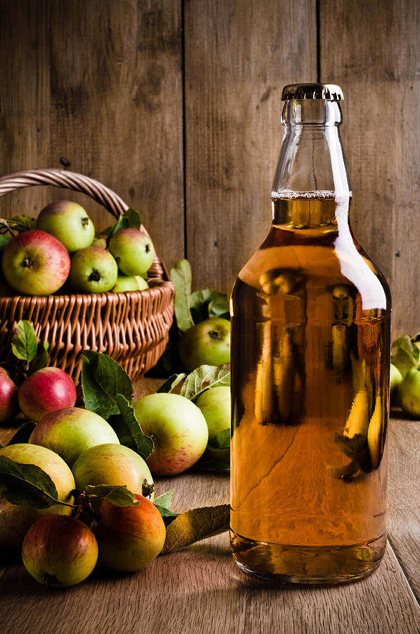 Bottled Cider With Apples Photograph