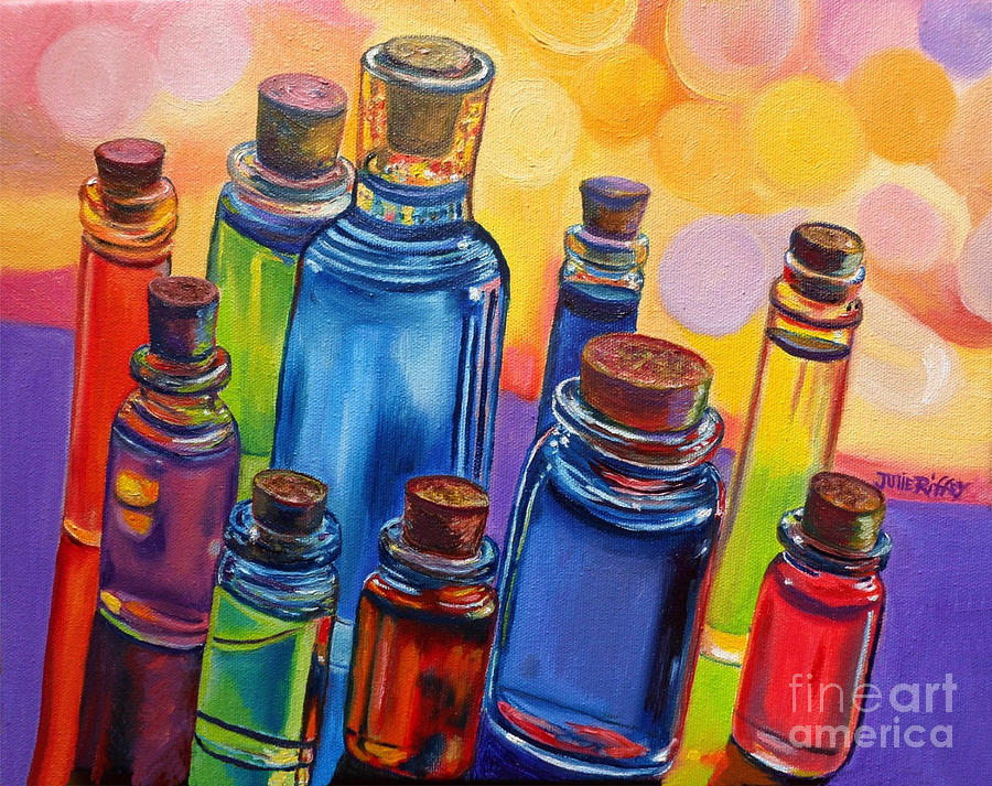 Bottles Painting - Bottled Rainbow by Julie Brugh Riffey