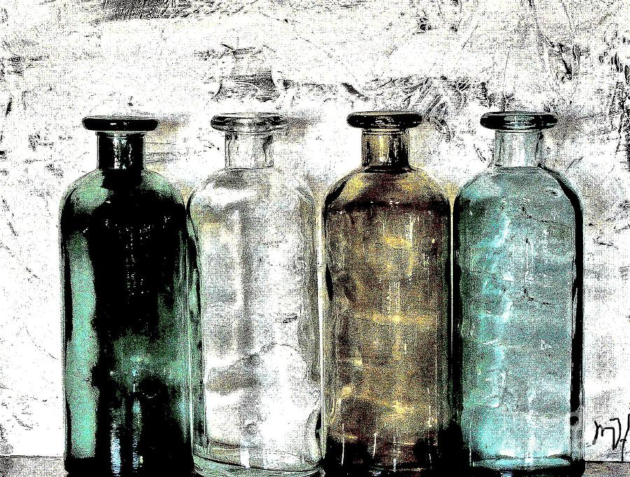 Bottles Against The Wall Photograph