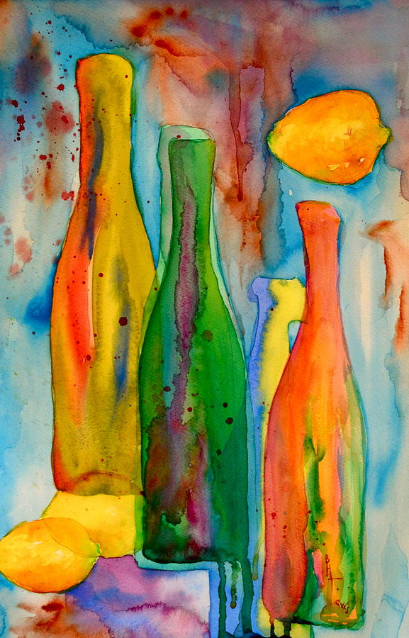 Bottles And Lemons Painting