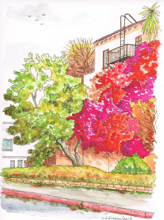 Bougainvilleas And A Green Tree In Hollywood - California Painting