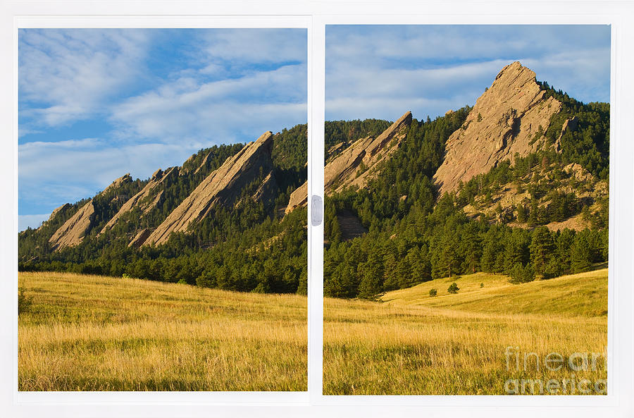 Boulder Colorado Flatirons White Window Frame Scenic View Photograph