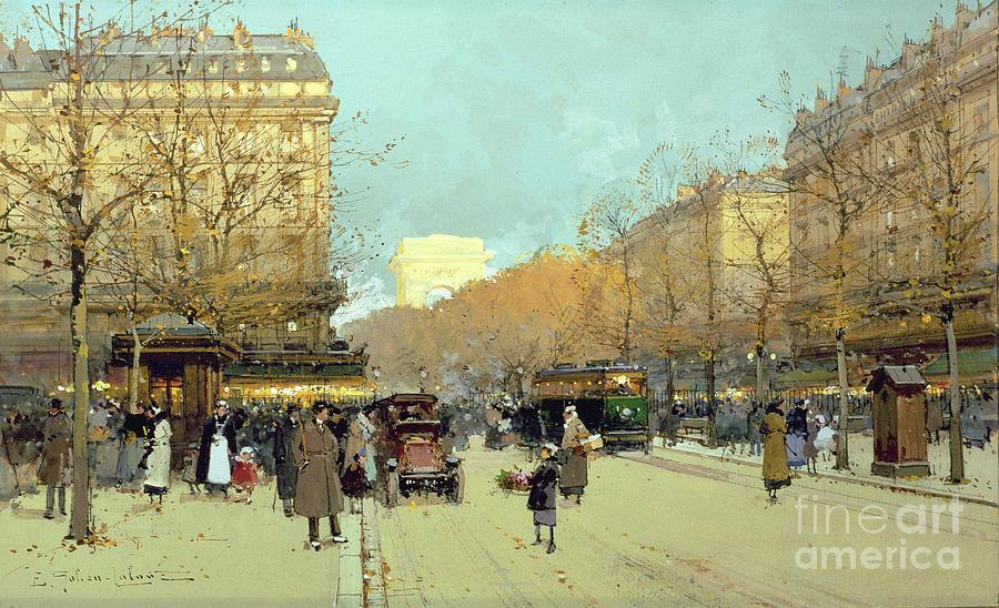 Parisian Painting - Boulevard Haussmann In Paris by Eugene Galien-Laloue