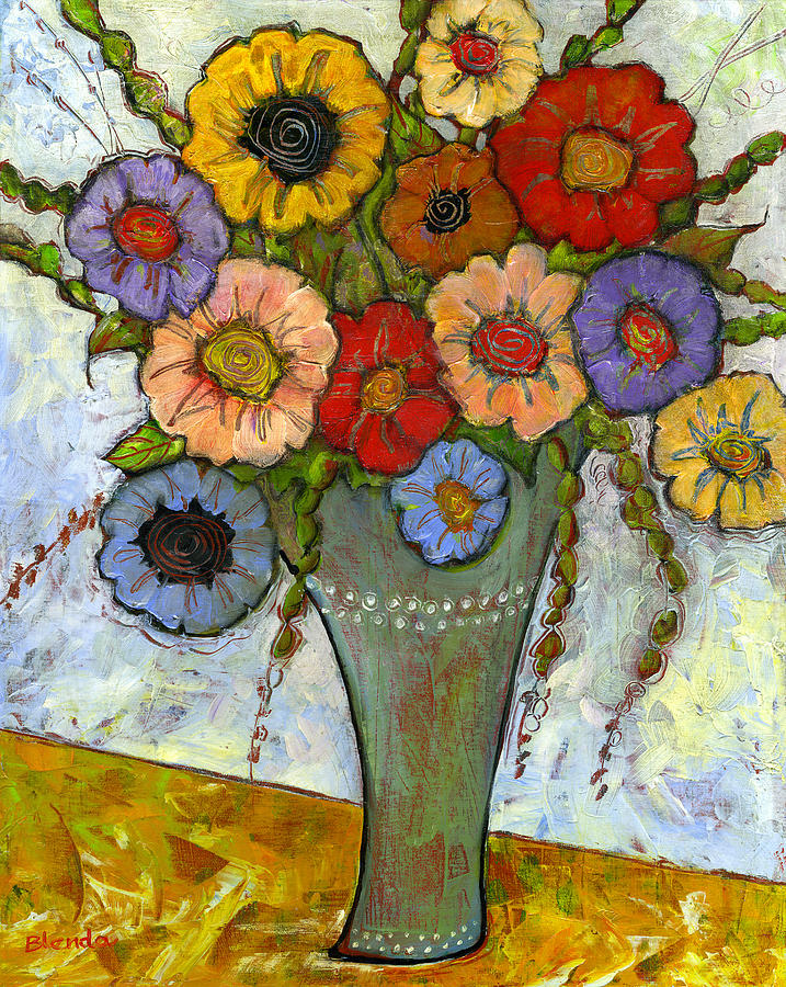 Bouquet Of Flowers Painting  - Bouquet Of Flowers Fine Art Print