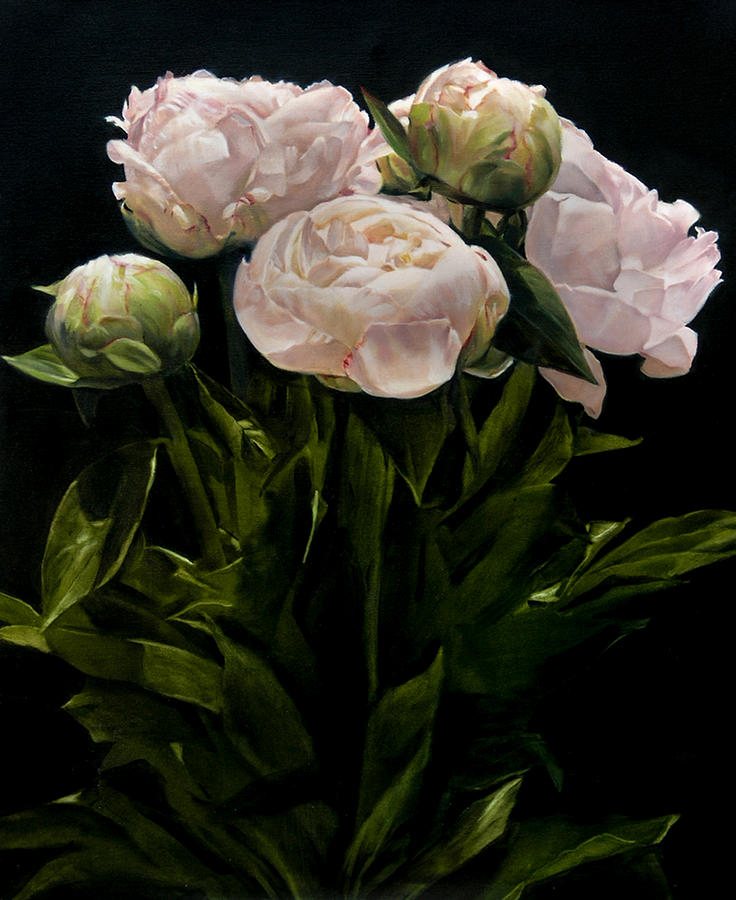 Bouquet of peonies painting by thomas darnell