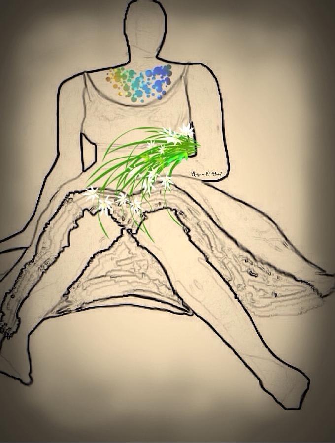 Flowers Digital Art - Bouquet-sketch by Romaine Head