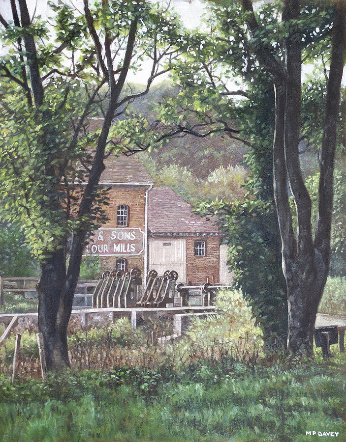 Bournemouth Throop Mill Through Trees Painting  - Bournemouth Throop Mill Through Trees Fine Art Print