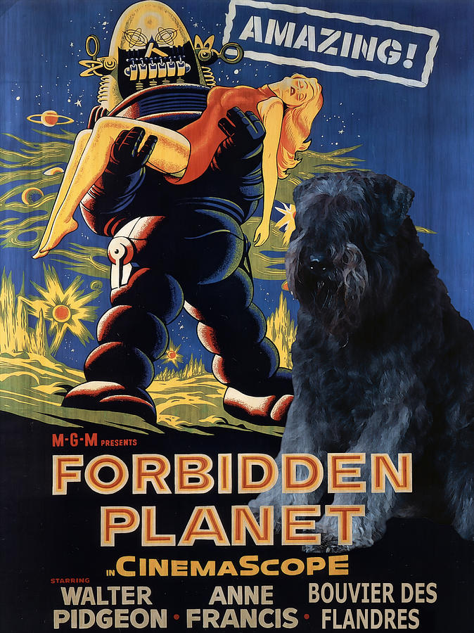 Bouvier Des Flandres - Flanders Cattle Dog Art Canvas Print - Forbidden Planet Movie Poster Painting