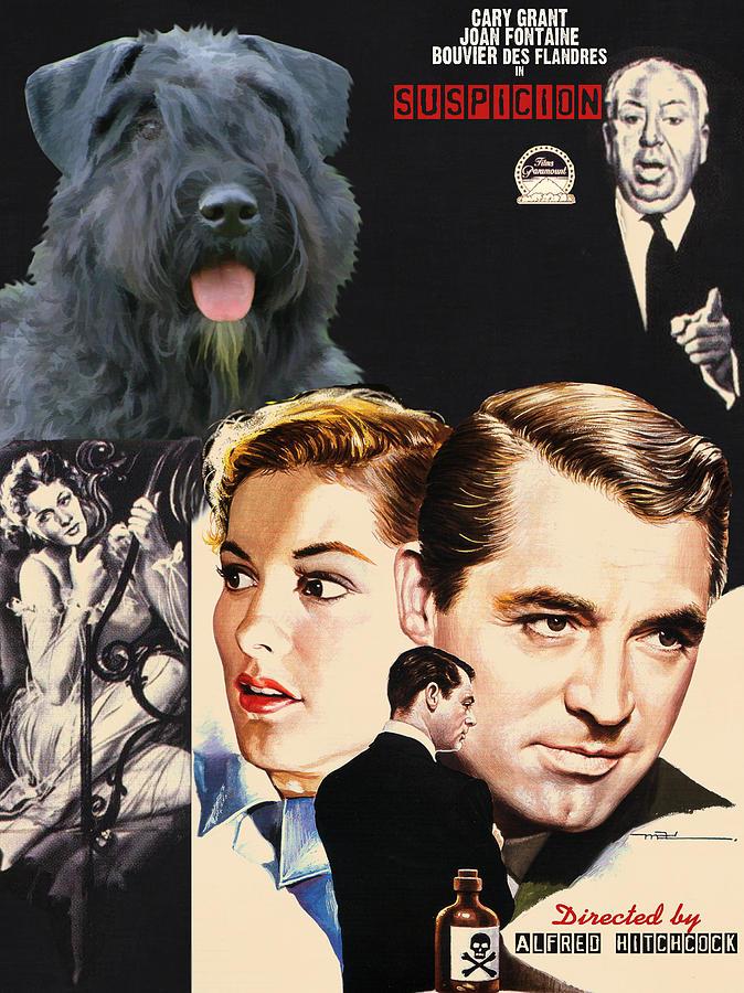 Bouvier Des Flandres - Flanders Cattle Dog Art Canvas Print - Suspicion Movie Poster Painting