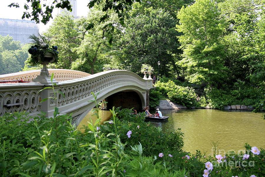 Bow Bridge And Rowboat Nyc Photograph