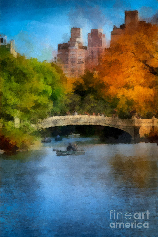 Boat Digital Art - Bow Bridge Central Park by Amy Cicconi