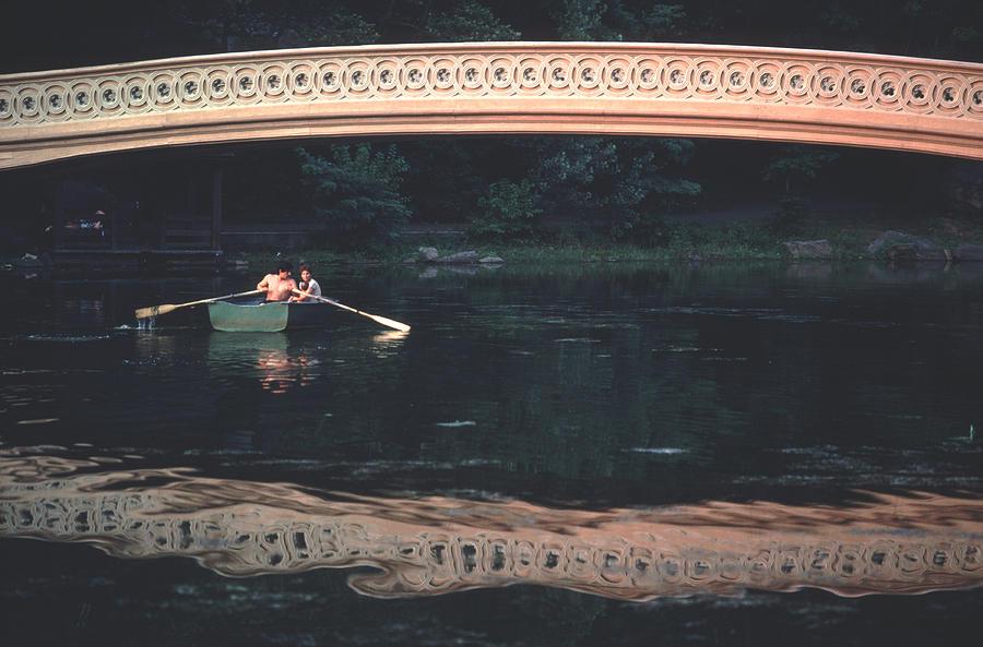 Bow Bridge Rowboat Central Park Photograph