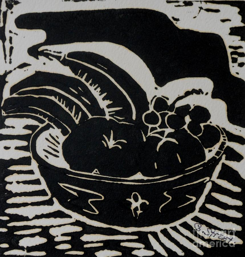 Bowl Of Fruit Lino Print Relief  - Bowl Of Fruit Lino Print Fine Art Print