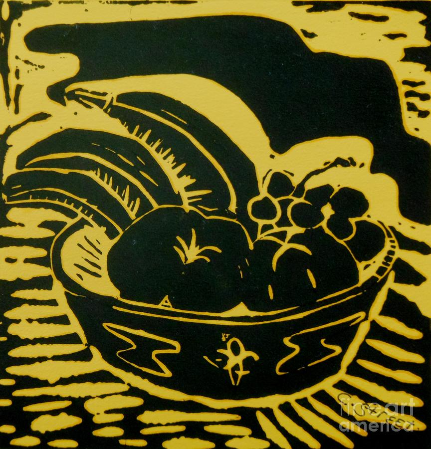 Bowl Of Fruit Lino Yellow Relief  - Bowl Of Fruit Lino Yellow Fine Art Print