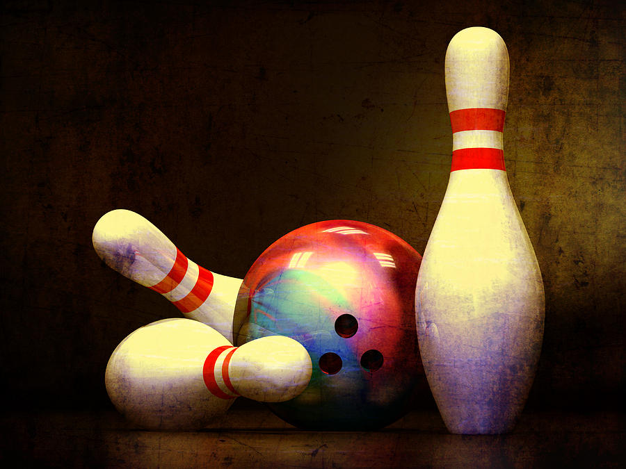 Bowling Ball And Three Pins Digital Art  - Bowling Ball And Three Pins Fine Art Print