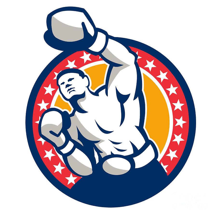 Boxer Boxing Punching Jabbing Retro Digital Art
