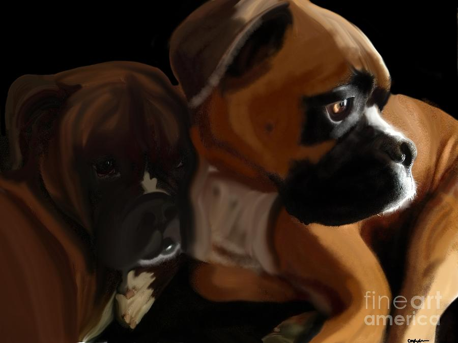Boxer Digital Art - Boxer Brothers by Christina Kulzer