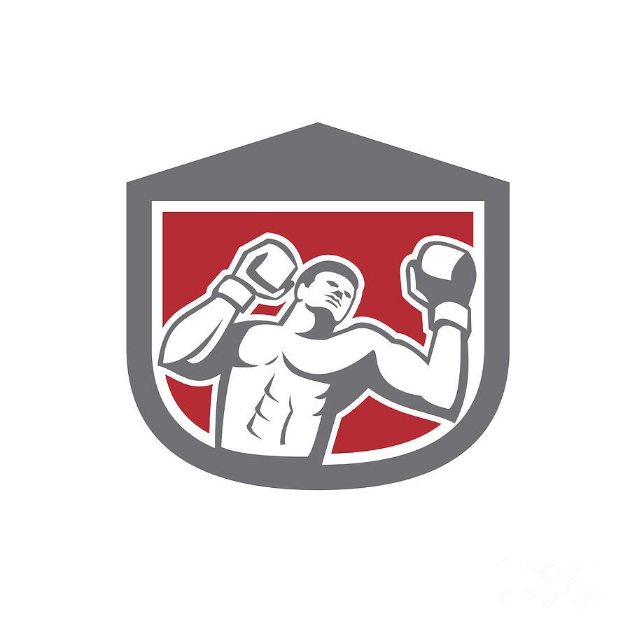 Boxer Punching Boxing Shield Retro Digital Art