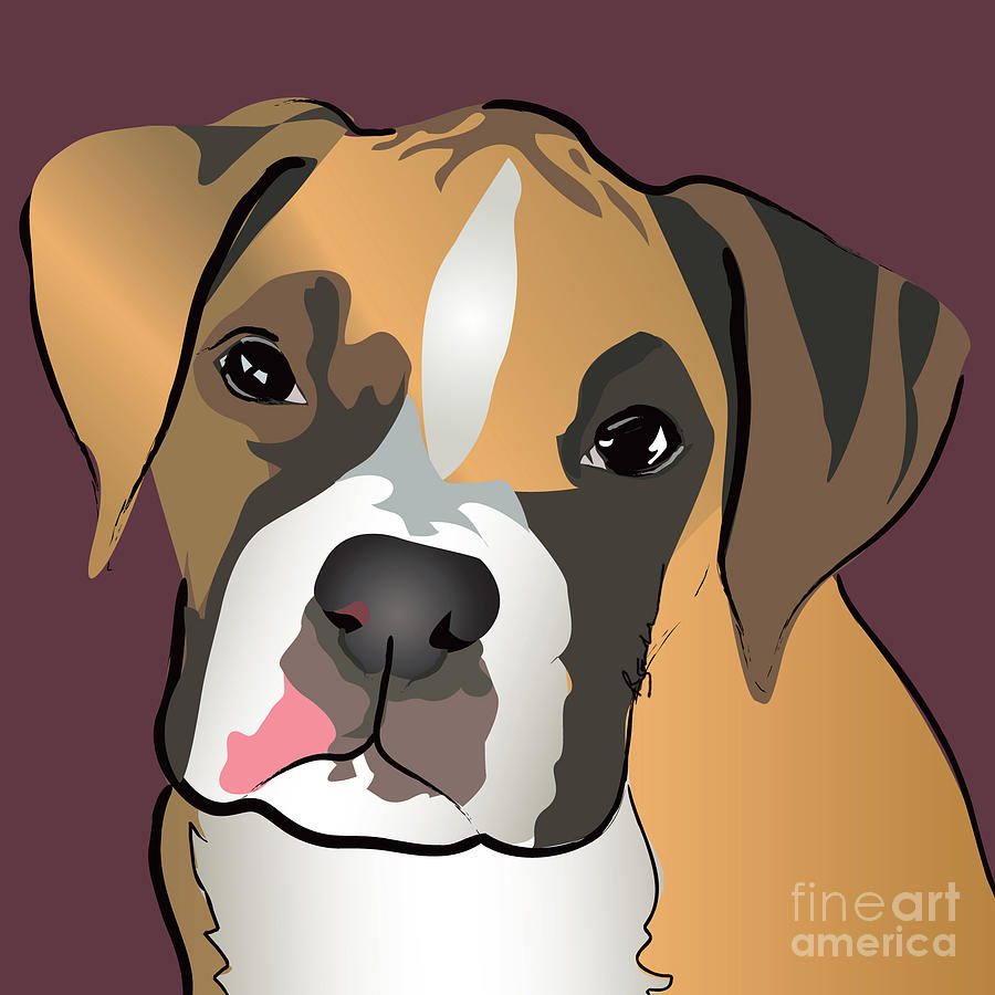 Boxer Puppy Pet Portrait  Painting  - Boxer Puppy Pet Portrait  Fine Art Print